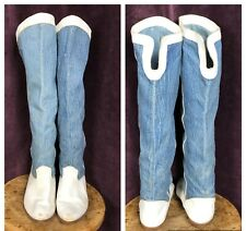 Vintage Boots Knee High Denim White Leather Distreesed Blue Womens 8.5