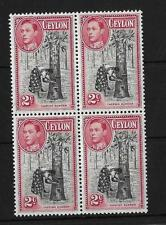 CEYLON, KGV1, 1938 DEFINS, 2c PERF 13 1/2, SG 386b, CAT 14 GBP, BLK 4