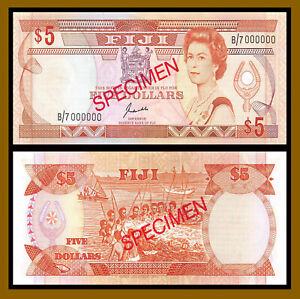 Fiji 5 Dollars, 1989 P-91s2 Sig Kubuabola QE II Specimen About Uncircuated (Au)