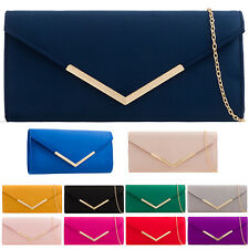 b1a08265b Plain Suede Wedding Ladies Party Prom Evening Clutch Hand Bag Purse HandBag