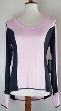 NEW Vimmia womens long sleeve pink black work-out top shirt thumbhole cuffs L