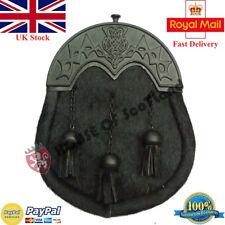 Men's Scottish Kilt Sporran Full Dress Black Bovine Leather Thistle Knot Cantle