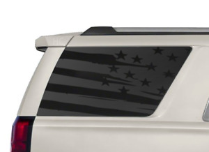 Distressed USA Flag Decals fits Rear window 2015-2020 Chevy Tahoe GMC Yukon CT7