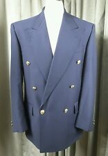 Yves Saint Laurent YSL 100% Pure New Wool Navy Gold Button Blazer 38S