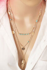 Multi Layered Necklace sets for woman girls gold plated gift Long 3 Boho Charms
