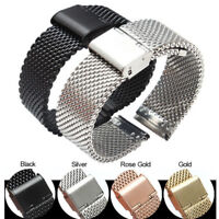 12-22mm Mesh Watch Band Stainless Steel Milanese Link Bracelet Wrist Strap Thick