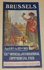 Dépliant FOIRE INTERNATIONALE COMMERCIALE de BRUXELLES 1931 - En anglais