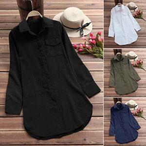 AU STOCK ZANZEA Women Collared Button Up Shirt Tunic Top Tee Long Sleeve Blouse