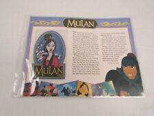 Willabee Ward Disney Collector Patch 1998 MULAN & FACT CARD