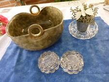 coupelle vase ,cache pot vert neuf ,2,verrerie s pieds menble et cendrier verre