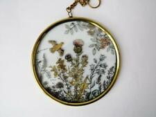 Vintage Signed Reverse Glass Painted Suncatcher Wild Meadow Pattern
