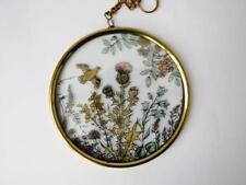 VINTAGE FIRMATO REVERSE vetro dipinto Suncatcher Wild Meadow Pattern