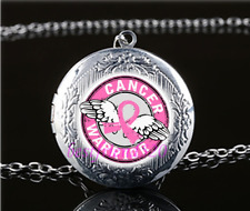 Breast Cancer Photo Glass Tibet Silver Chain Locket Pendant Necklace#S50