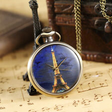 Vintage Painted Cute Eiffel Tower Quartz Pocket Watch Women Retro Pendant Chain