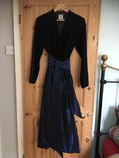 Vintage Laura Ashley Victorian Edwardian Style Dress 14 Velvet Taffeta