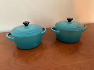 Pair LE CREUSET 2 DEEP TEAL BLUE CASSEROLE MINI Casserole Dishes RAMEKINS + LID