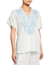JOHNNY WAS LILY SHORT SLEEVE EMBROIDERED WHITE BLOUSE, SZ XS