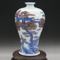 China Jingdezhen Porcelain Blue-and-white Red Pine Tree Bamboo Plum Blossom Vase