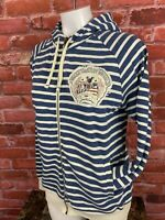 Disney Adult Small Mickey Mouse Jacket Hoodie Nautical Blue Stripe R1