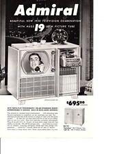 1950 ADMIRAL TELEVISION / PHONOGRAPH / RECORD PLAYER ~ ORIGINAL PRINT AD