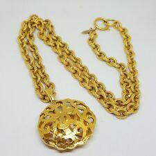 Authentic Rare Vintage Chanel Large CC Logo Gold Round Necklace Pendant Chain