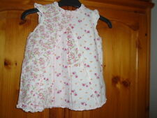 Pretty white and pink floral longer length sleeveless top, NEXT, 6-9 months