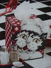 "''KITTY CHEF TISSUE BOX COVER""~*~PLASTIC  CANVAS PATTERN~*~"