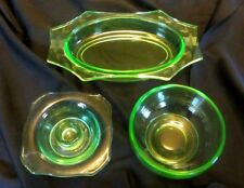 LOT OF 3 LOVELY PIECES GREEN VASELINE FEDERAL URANIUM DEPRESSION GLASS