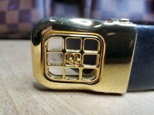 """Vintage Christian Dior Logo Reversible Belt Black Brown 36"""""""