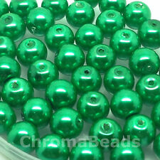 6mm Glass faux Pearls - Emerald Green (100 beads) jewellery making