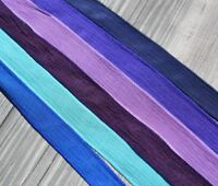 River Walk Silk Ribbons Assortment Hand Dyed Qty 6 Purple Violet Navy Turquoise