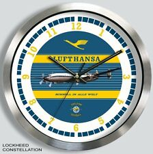 LUFTHANSA GERMAN AIRLINES LOCKHEED CONSTELLATION WALL CLOCK METAL 1950s