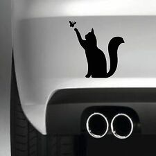 CAT AND BUTTERFLY BUMPER STICKER FUNNY CAR WINDOW PAINTWORK STICKER VINYL DECAL