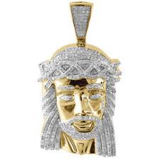 """Genuine Pave Diamond Jesus Piece Charm 10K Yellow Gold 1.96"""" Pendant 1.60 Ct."""