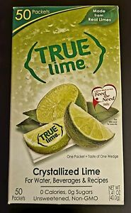 True Lime Crystallized Lime Packets Real Limes 50-CT Sugar Free SAME-DAY SHIP