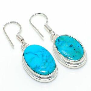 "Tibetan Turquoise Gemstone Gift 925 Sterling Silver Jewelry Earring 1.46 "" e864"