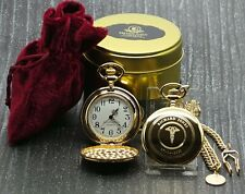 More details for personalised medical caduceus gold pocket watch coin chain gift doctor nurse