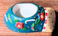 Mary Engelbreit 2002 Blue Mitten Candle Holder Tealight or Votive New no box