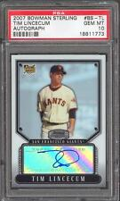 Tim Lincecum Giants 2007 Bowman Sterling #TL Auto Signed Rookie Card rC PSA 10