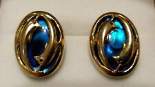 UNIQUE 9ct 375 Yellow Gold & Paua Abalone Shell DANCING DOLPHINS Earrings/Studs*
