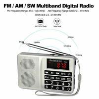 Retekess Portable FM/AM/SW Radio Tuning MP3 Player Shortwave Rechargeable AUX