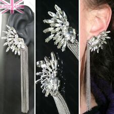 "5""long BIG earrings CRYSTAL EAR CUFF PAIR silver rhinestone CHAINS gothic fairy"
