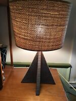 Handmade, Atomic-style, MCM, Ceramic Lamp With Textured Shade And Graphic Design