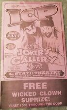 Insane Clown Posse - The Joker's Gallery Show 14x8.5 Flyer / Poster concert rare
