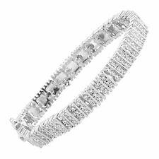 Finecraft KB17314CWSCX1 Square Link Tennis Bracelet With Diamonds