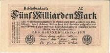 ALLEMAGNE Billet 5 Milliarden Mark P123b 1923 Gau bloc supérieur droit 1/2 types