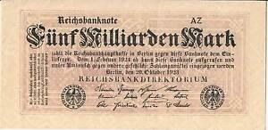 GERMANY BANKNOTE 5 Milliarden Mark P123b 1923 GAU Block upper right 1/2 types