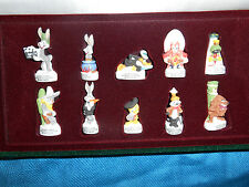 LOONEY TUNES Back in Action Set 10 French Porcelain FEVES DISPLAY CASE Figurines