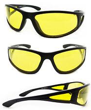 New Night Driving Aviator Sunglasses Yellow Anti Glare Lens Wrap Around Frame