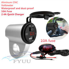 12V Waterproof CNC Motorcycle Bikes USB Charger Power Adapter Voltage Meter Red
